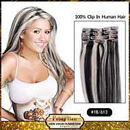 Febay Hair 20-22inch 8pcs 100g/set 1b/613 Peruvian Virgin Hair Clip In Human Hair