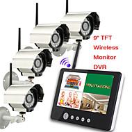 9 인치 2.4G 무선 4 대의 카메라 오디오 비디오 아기 IR 야간 조명과 함께 4 채널 쿼드 DVR 보안 시스템을 모니터링