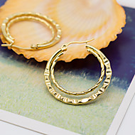 Women's Fashion Gold Plated Stainless Steel Two Ring Earrings