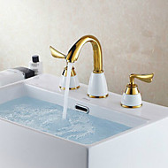 Antique Ti-PVD Finish Brass Three Hole Two Handle Bathroom Sink Faucet