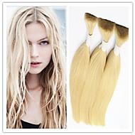 "3Pcs/Lot #613 Blonde Hair Bulk Straight INDIAN Virgin Bulk Hair Extensions 14""-32"" Human Braiding Hair Bulk 100G/Pc"