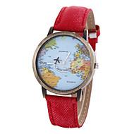 Женские Модные часы Часы-браслет World Map Pattern Кварцевый PU Группа Винтаж Черный Белый Синий Красный Коричневый Хаки