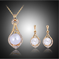 Lucky Doll Women's Vintage Rose Gold Plated mitation Pearl Zirconia Water Drop Necklace & Earrings Jewelry Sets