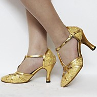 Customizable Women's Dance Shoes Latin/Standard Shoes Leatherette/Paillette Customized Heel Pink/Silver/Gold