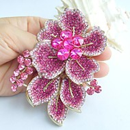 Gorgeous 3.54 Inch Gold-tone Pink Rhinestone Crystal Flower Brooch Art Decorations