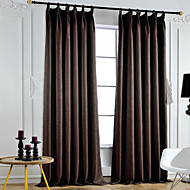 Two Panels  Solid  Polyester Blackout Curtains Drapes Coffee