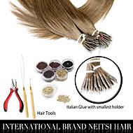 """neitsi® 20 """"1g / s nano gyűrű hurok egyenes haj 100% emberi haj kiterjesztések 8 # hajszárító eszközök"""