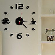 High Quality Creative Fashion Contracted Mute Acrylic DIY Fun Battery Digital Wall Clock-Coffee Cup And Coffee Beans
