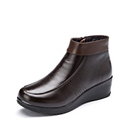 Aokang Women's Shoes Leather Wedge Heel Wedges/Comfort/Round Toe/Closed Toe Loafers Outdoor/Office & Career/Casual