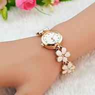 Женские Модные часы Часы-браслет Кварцевый Имитация Алмазный сплав Группа Цветы Элегантные часы Черный Белый Красный Коричневый Розовый