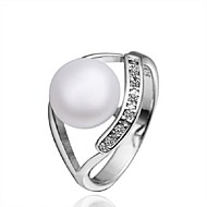 Lovely Round Shape Copper Pearl Ring(Silver)(1Pc)