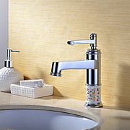 Transitional Chrome Brass Hot and Cold Single Handle Bathroom Sink Faucet Basin Mixer