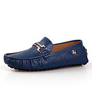 Herren Schuhe Leder Frühling Sommer Herbst Winter Komfort Loafers & Slip-Ons Für Normal Weiß Schwarz Blau
