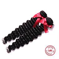 evet brasilianskt jungfru hår väver obearbetade brasilianska vinkar djupt 7a mänsklig jungfru hårförlängning 2st naturligt svart