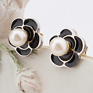 Women's Fashion Gold Plated and Silver Stainless Steel Flower Earring with Imitation Pearls