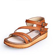 Sandály - Koženka - Pohodlné / Otevřená špička - Dámská obuv - Černá / Hnědá / Bílá - Běžné - Plochá podrážka