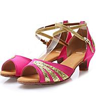 Children's Dance Shoes Sandals Satin Low Heel Black/Red/Blue/Fuchsia