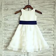 A-line Ivory Cupcake Knee-length Flower Girl Dress - Chiffon Sleeveless