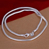 Simple Snake Shape Silver Plated Copper 4M Necklace For Men(Silver)(1Pc)