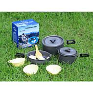 2-3 personnes portable cuisson en plein air anti-adhésive en aluminium Ustensiles pan pot théière torchon camp pique-nique Set DS-300