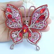 Gorgeous 3.74 Inch Gold-tone Pink Red Rhinestone Crystal Butterfly Brooch Art Deco Crystal Sash Brooch Rhinestone Brooch