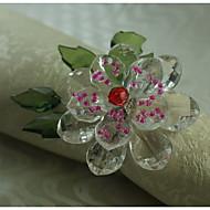 fleur de cristal anneau décoration de serviette, acrylique, 1.77inch, set de 12
