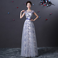 Formal Evening Dress - Pool A-line Jewel Floor-length Tulle