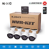 Cotier®4CH NVR Kits P2P Cloud NVR 720P/960P/1080P/H.264/Waterproof/HD/Bullet IP Camera N4B-Mini