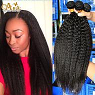 3pcs / lot 10 '' - 26''brazilian reines Haar natürliche schwarze verworrene gerade rohe menschliche Haarwebart
