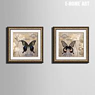 Blommig/Botanisk / Djur Inramad duk / Inramat set Wall Art,PVC Gyllene Passepartout inkluderad med Frame Wall Art