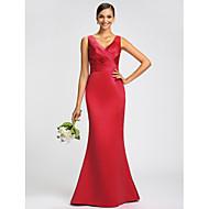 Dress - Fuchsia / Royal Blue / Ruby / Champagne / Grape Plus Sizes / Petite Trumpet/Mermaid V-neck Sweep/Brush Train Satin