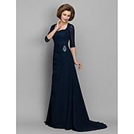 Lanting A-line Mother of the Bride Dress - Dark Navy Sweep/Brush Train 3/4 Length Sleeve Chiffon