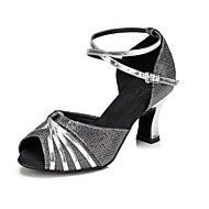 Non Customizable Women's Dance Shoes Salsa Flocking Cuban Heel