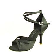 Customizable Women's Dance Shoes Satin Satin Latin / Salsa Sandals Customized Heel IndoorBlack / Blue / Yellow / Pink / Purple / Red /