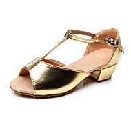 Non Přizpůsobitelné - Dámské / Dětské - Taneční boty - Latina - Semišování - Masivní podpatek - Stříbrná / Zlatá