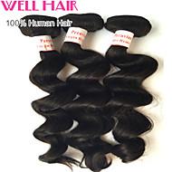 "3Pcs/ Lot 8""-30"" Peruvian Loose Wave  Virgin Hair Wefts Natural Black 1B# Human Hair Weave Bundles Tangle Free"