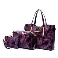 Women PU / Patent Leather Barrel Shoulder Bag / Tote - Purple / Red / Black