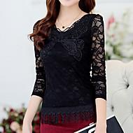 Women's Lace White/Black Blouse , V Neck Long Sleeve Tassel
