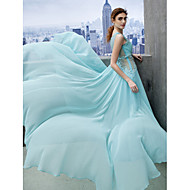 Formal Evening Dress - Sky Blue A-line Scoop Court Train Chiffon