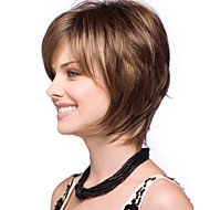 New Fashion Lady  Fashion High Temperature Wire Brown Highlights Short Straight Hair Wig  Can Be Very Hot Can Be Dyed