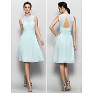 Knee-length Chiffon Bridesmaid Dress - Sky Blue Sheath/Column