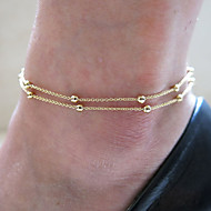 Women Fashion Gold Plate Ball Copper Double Layer Chain Beach Anklets