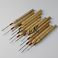 Bamboo Pulling Needle 12pcs Dozen Wooden Handle Hook Loop Threader Micro Rings Applicator for Cold Fusion hair