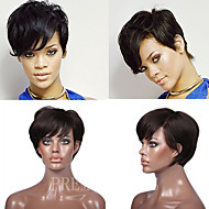 Premierwigs 8A Rihanna Style Short Straight Natural Color Capless Brazilian Virgin Human Hair Wigs For Black Women