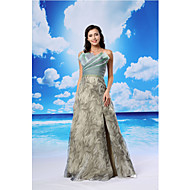 TS Couture® Formal Evening Dress A-line Scalloped Floor-length Organza / Satin with Criss Cross