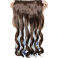 24 Inch Long Curly 5 Clips In Synthetic Hair Extensions Heat Resistant Fiber