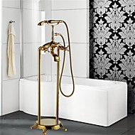Art Deco/Retro Floor Mounted Floor Standing with  Ceramic Valve Three Handles One Hole for  Ti-PVD , Bathtub Faucet
