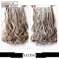 """Neitsi® 1pc 110g 22"""" 3/4 Full Head 5clips Kanekalon Synthetic Braiding Hair Pieces Clip In/on Wavy Extensions F8-613#"""
