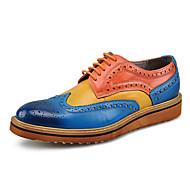 MasculinoMocassim sapatos Bullock-Rasteiro-Preto Azul-Couro-Casamento Escritório & Trabalho Casual