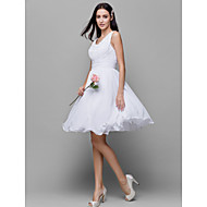 Knee-length Chiffon Bridesmaid Dress - White A-line Scoop
